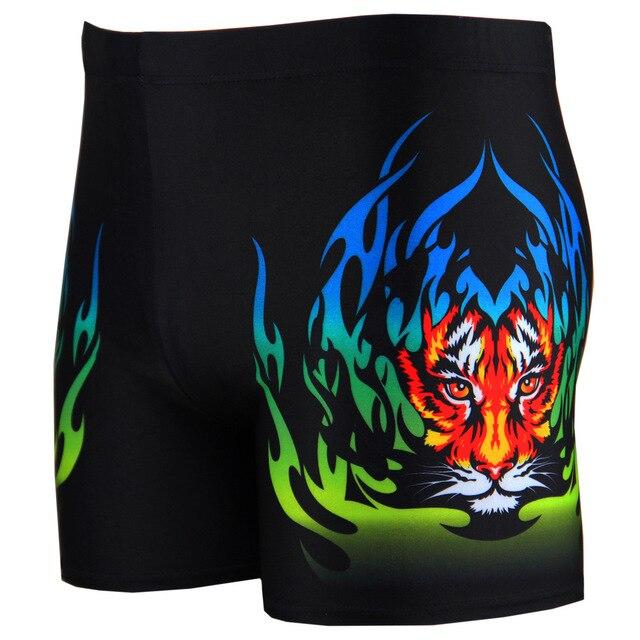 Mens pakaian renang pantai memakai Boy celana renang seksi Elesticity cetak pinggang harimau api celana pendek petinju keahlian berenang Homme Swimsuit Man