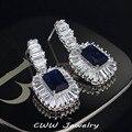 2017 Nova Moda Jóias Branco E Azul Royal Cristal Praça Gota Dangle Brincos Cubic Zirconia Para Mulheres CZ293