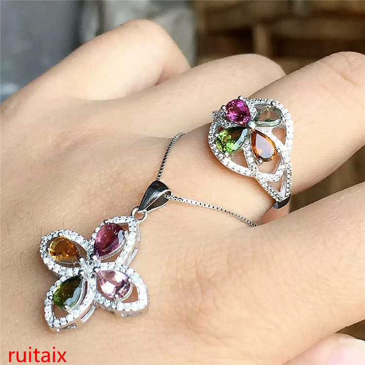 KJJEAXCMY boutique jewels 925 sterling silver inlaid with natural tourmaline diamond cross grass female pendant ring 2 sets gift
