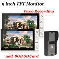 9 inch Color 2 Monitor Video Record DoorBell Intercom System 700TVL IR Camer + 8GB SD Card Doorbell Kit for Apartment Security