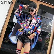 XITAO Europe Autumn Street Women Character Print Irregular Coats Female Full Sleeve