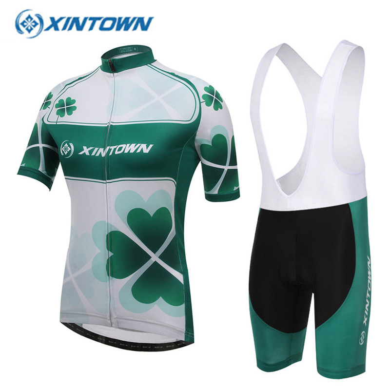 ФОТО XINTOWN Women Cycling Jersey Four-leaved Clover 2017 Short Sleeve Bike Clothing Breathable Sports Bicycle Clothes Green