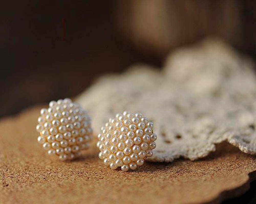 לבן פנינת חרוזים סימולציה צורת פטריות עגילים צמודים לתכשיטי נשים