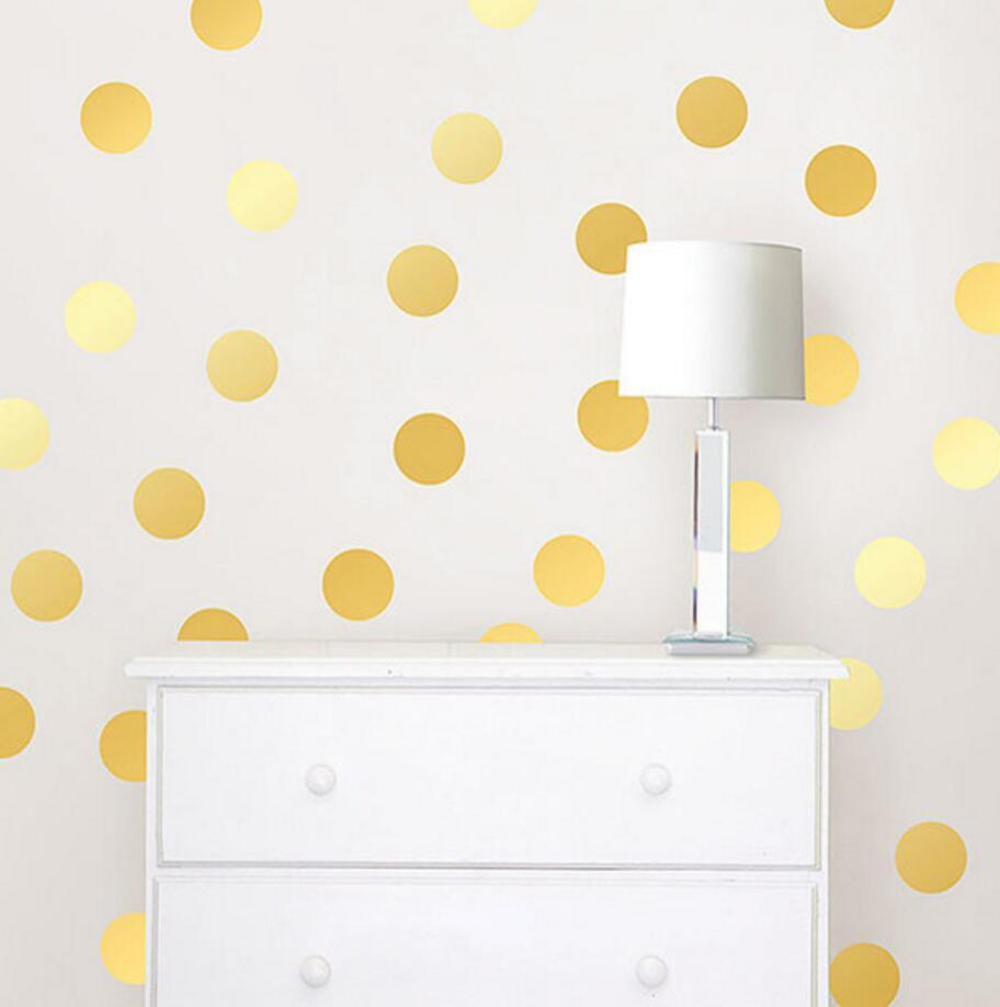 Gold Polka Dots Wall Sticker Baby Nursery Kids Room Cartoon Polka Dots Wall Decal Bedroom Living Room Vinyl Art Mural Decor Dots (10)