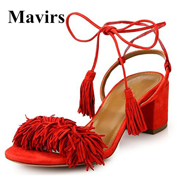 0868f0eb04a9f MAVIRS Brand High Heels Women Sandals 2018 Summer Ankle Strap Square Heel  Sandals Fringe Classic Black Party Shoes US Size 5-15