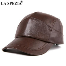 LA SPEZIA Brown Caps Men Real Leather Baseball Hats Male High Quality Genuine Leather Cowhide Autumn Vintage Dad Duckbill Hats(China)