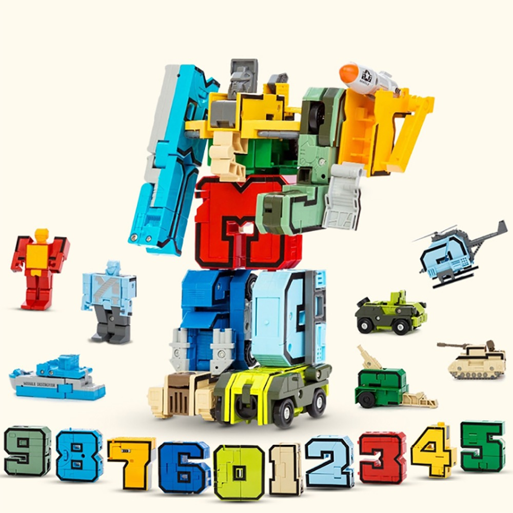 15PCS Transformation Robot Assembling Building Blocks Number Deformation Robot Educational Action Figure Toys For Children Gifts