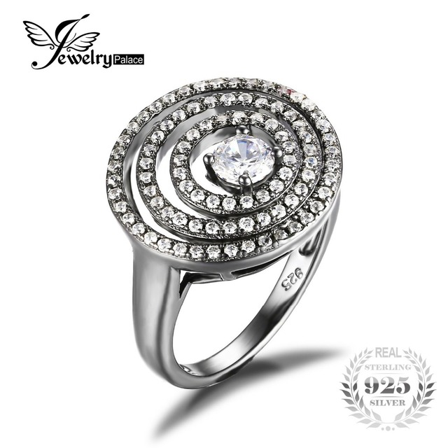 JewelryPalace Fashion Cubic Zirconia Cocktail Ring 925 Sterling Silver Black Gold Plated 2016 New Fine Jewelry For Women