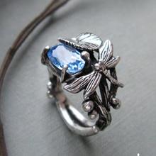 Creativo libélula loto anillo único encanto plata Color anillo Mujer con azul AAA Zircon joyas aneis feminino tamaño 6 -10