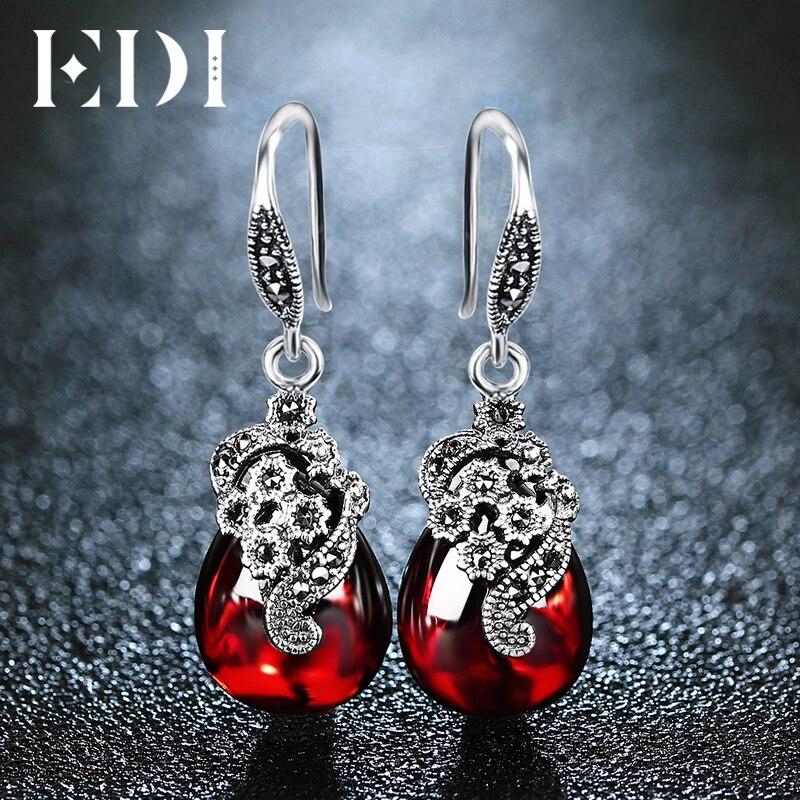EDI ヴィンテージガーネット 925 スターリングシルバードロップイヤリング宝石用原石のペンダントネックレス女性のジュエリーセット用  グループ上の ジュエリー & アクセサリー からの ジュエリーセット の中 3
