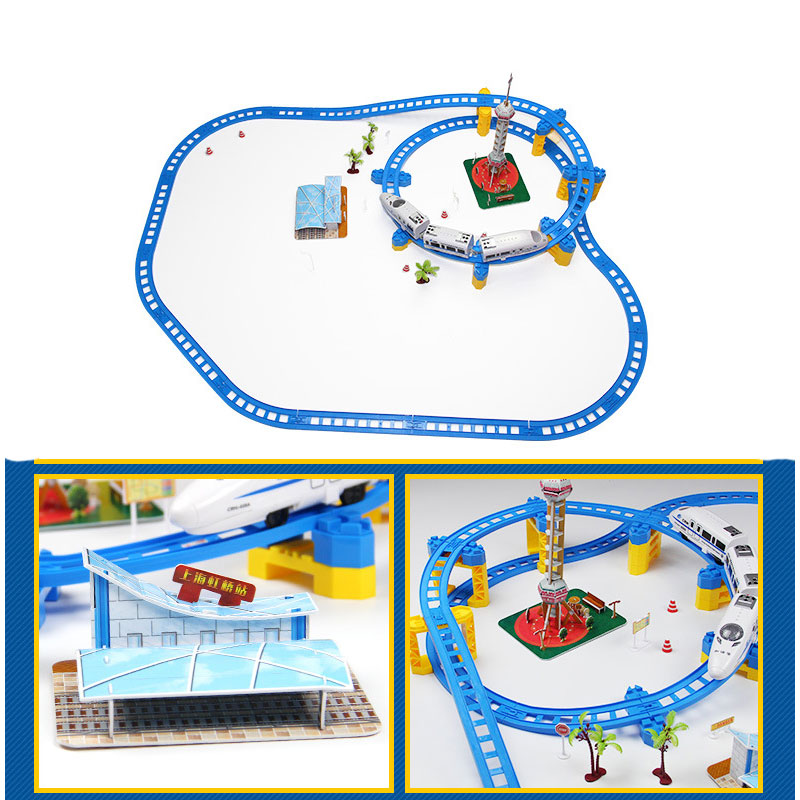 Train model Building set diecast Hexie CRH with Trucks Chinese Railway High Speed Train Toys for Children Christmas Gift