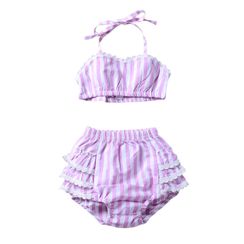 Summer Baby Girl Clothing Set Striped T-shirt Tops+ Short Pants Kids Sleeveless Clothes Outfit Suits 2018 New Style
