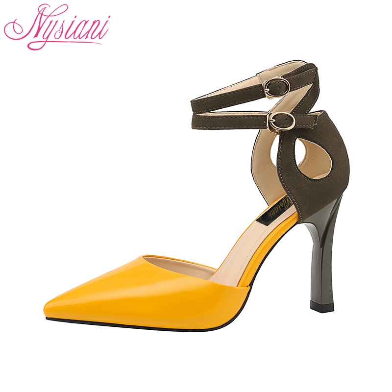 2018 Pointed Toe Ankle Strap Heels Women Sandals Party Dress Sexy High Heels Sandals Brand Designer Women Summer Shoes Nysiani sexy pointed toe sheepskin leather high heeled shoes straps ankle wrap sandals women thin heels ol summer boots sandals