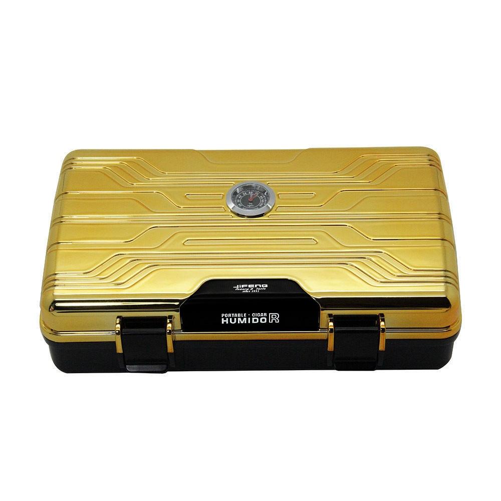 JiFENG Goud/Rood Travel Sigarenhumidor Case Voor Sigaren Multifunctionele Dubbeldeks Sigarenkistje Met Luchtbevochtiger Punch Cutter-in Sigaar accessoires van Huis & Tuin op  Groep 2