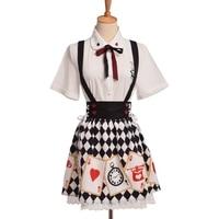 Mujeres dulce Poker impreso blusa falda de princesa traje verano Set arco lindo con camisa Lolita falda de tirantes con encaje
