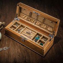 Luxurly joyero de madera maciza pura, estuche de almacenamiento para colección de joyas, organizador de mesa de escritorio doble con cerradura para regalos, MSSH008