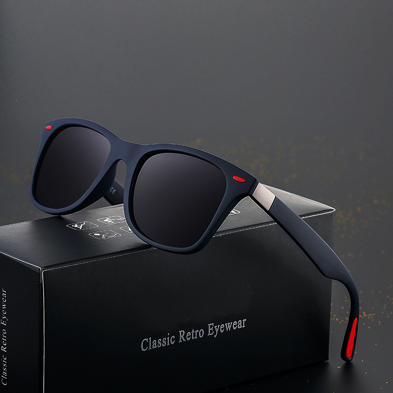 8032 New Uni Rectangular Designer Fashion Double Metal Sunglasses Shades Black