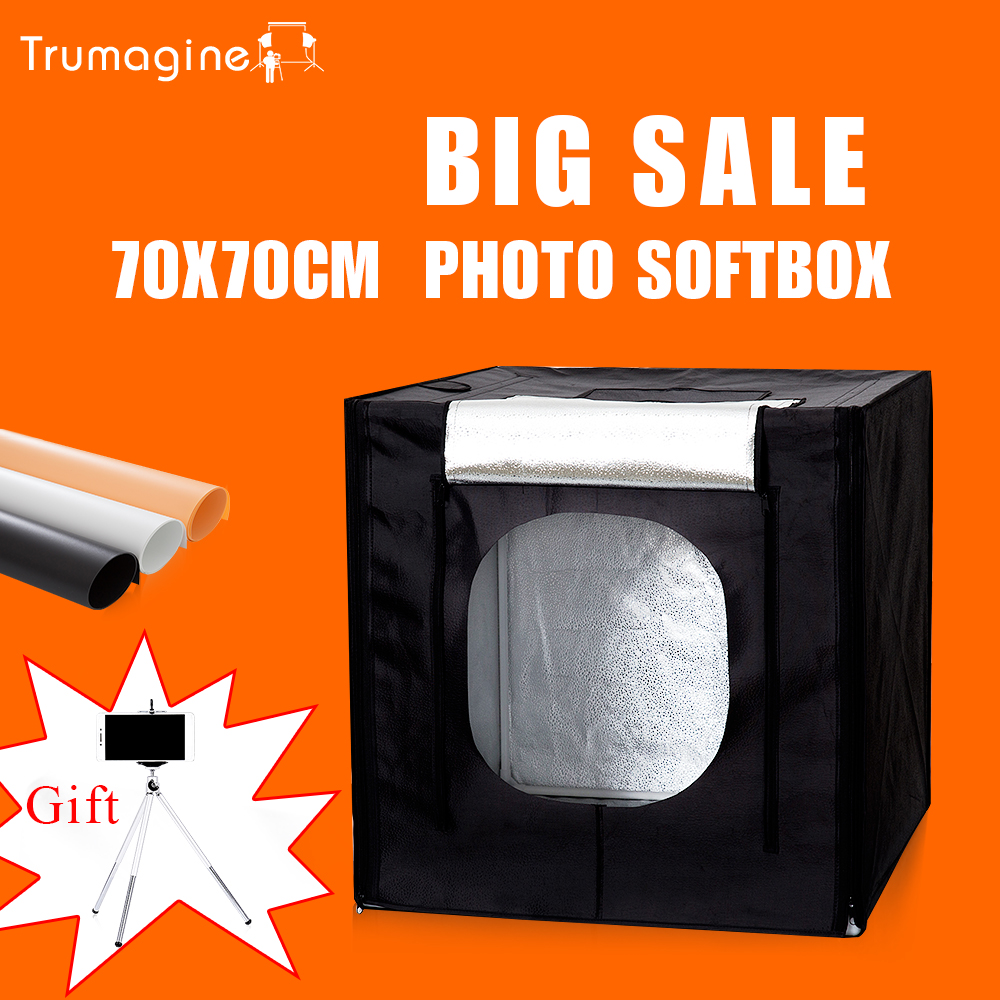 TRUMAGINE 70CM Led Photo Studio Soft Box Photography Light Box Shooting Lightbox +Dimmer Switch For Toys Clothing