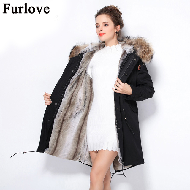 Furlove New Real Large Raccoon Fur Winter Coat Women Jacket Coats Collar Thicken Warm Padded Cotton Lady Parkas Female Jacket free shiping fried ice cream machine 75 35cm big pan with 5 buckets fried ice machine r22 ice pan machine ice cream machine