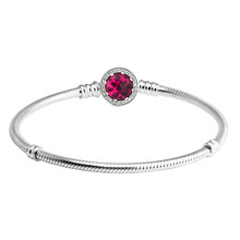 купить Authentic 925 Sterling Silver Snake Bracelet with Cherry Crystal Clasp Fits European Charm Beads  Fine Jewelry Women Gifts дешево