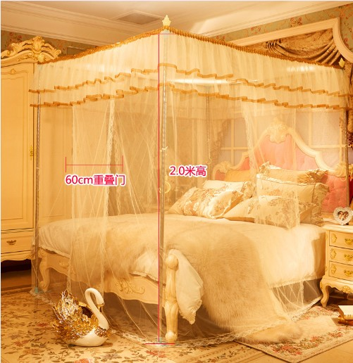 1PC 3 Door 4 Corner Post Bed Mosquito Net Full Queen King Size Netting Bedding Nets with S/Steel Frame Hanging Decoration KR 021
