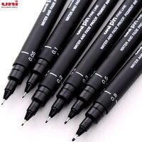 6 шт. uni pin, файнлайнер, тонкая ручка из двух вещей черно-маркеры 005 01/02/03/05 08 микрон вкладыш ручки для рисования Эскиз маркер для манги товары дл...