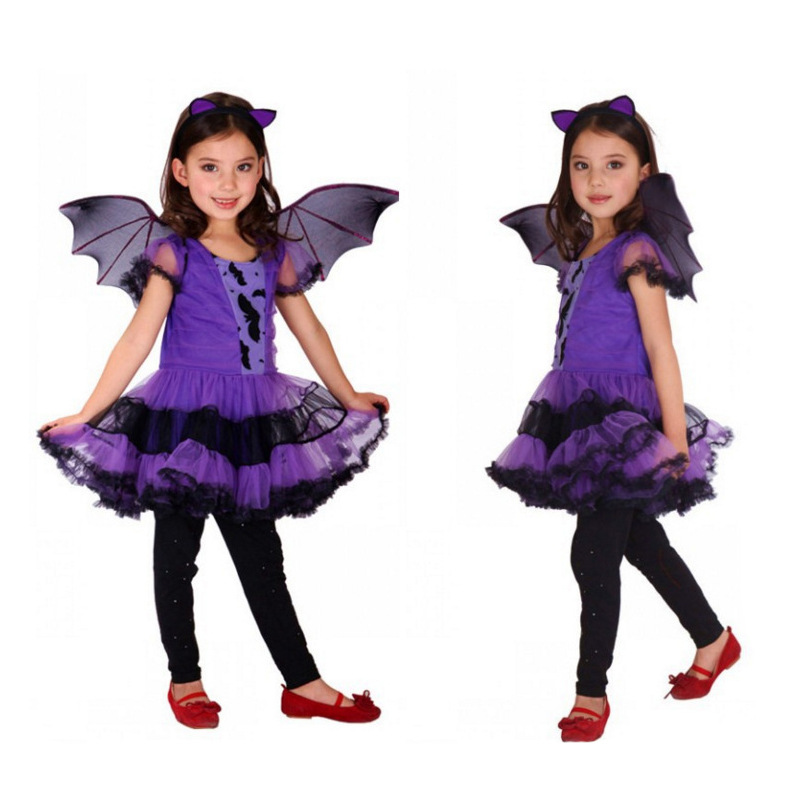 Children's Halloween Costume Cosplay Cloth Witch Bat Girls Dress Vampirina Vestidos Christmas Princess For Girl