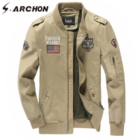 S ARCHON US Air Force Tactical Jacket Embroidery Breathable Windproof Army Military Flight Jackets Men Casual