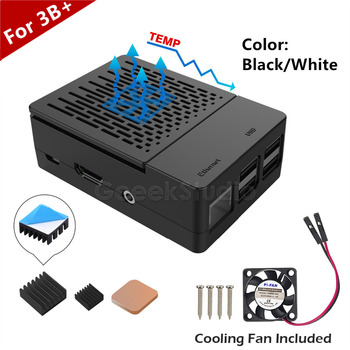 New Design! ABS Black / White Case Cover Enclosure Box + Heat Sinks Heatsinks + Cooling Fan For Raspberry Pi 3 B+ / 3 B / 2 B