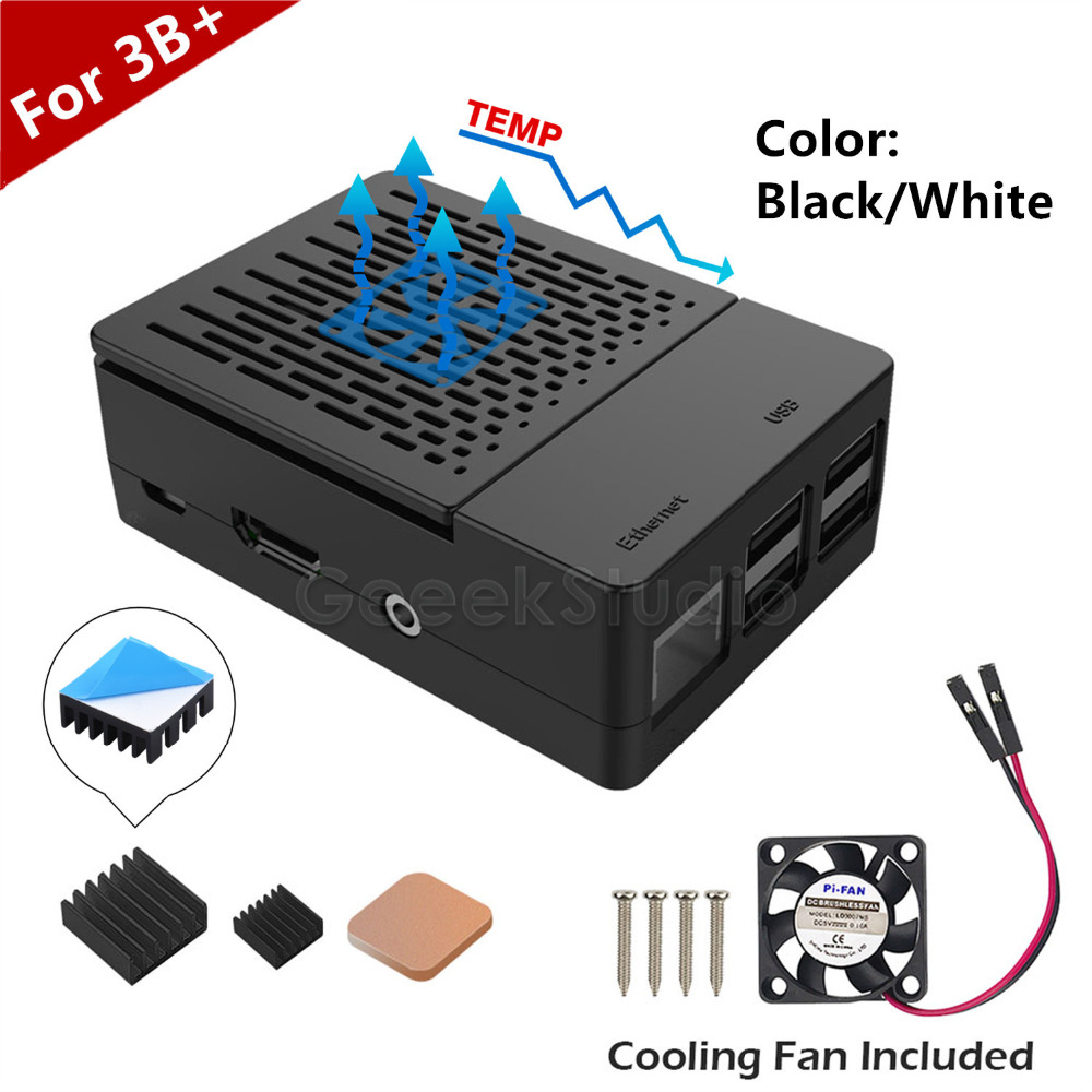 New Design! ABS Black / White Case Cover Enclosure Box + Heat Sinks Heatsinks + Cooling Fan for Raspberry Pi 3 B+ / 3 B / 2 B image