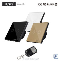 Funry EU 2 Gang 1 Way Wall Switch RF Remote Control Light Switch Waterproof Crystal Tempered