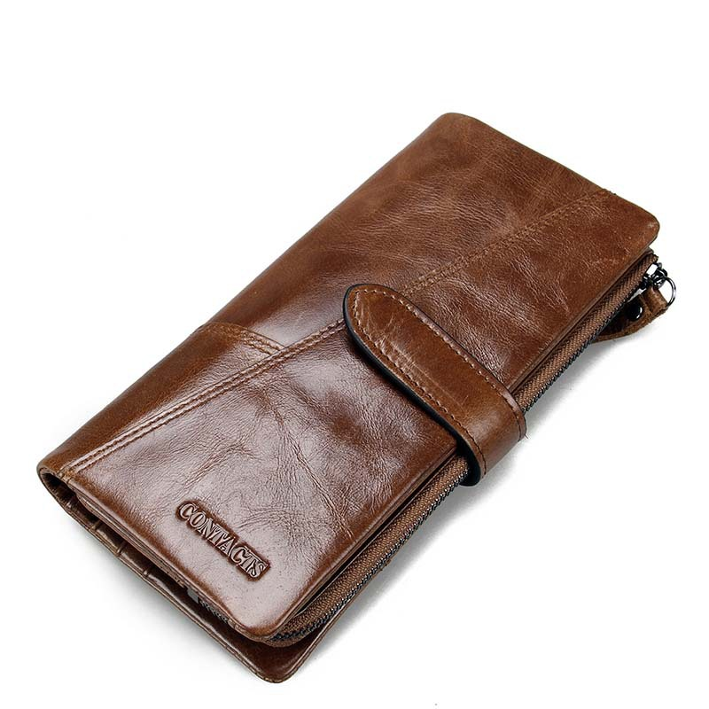 Retro luxury Genuine Leather Men Wallets High Quality Brand Design Vintage Man Cowhide Wallet Long Style