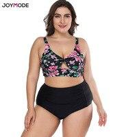 JOYMODE Swimwear High Waist Plus Size Ruched two Pieces Bandage Tankini Bathing Suits Swimsuit Women Large Cup Swim Beach Wear