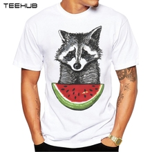 2017 Men T Shirts Fashion Racoon and watermelon Design Short Sleeve Casual Tops Hipster T-Shirt Cool Tee
