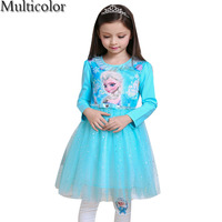 2016 High Quality Custom Anna Elsa Girls Princess Dress Kids Girl Vestidos Baby Children Cosplay Dresses