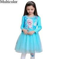 2016 High Quality Custom Anna Elsa Girls Princess Dress Kids Girl Vestidos Baby Children Cosplay Dresses