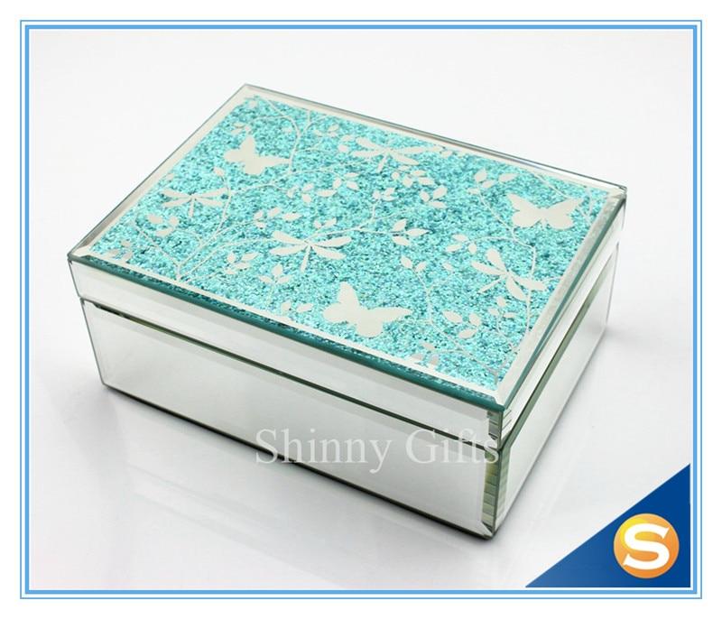 butterfly design mirror glass jewelry box wedding glass jewelry boxchina - Stand Up Jewelry Box