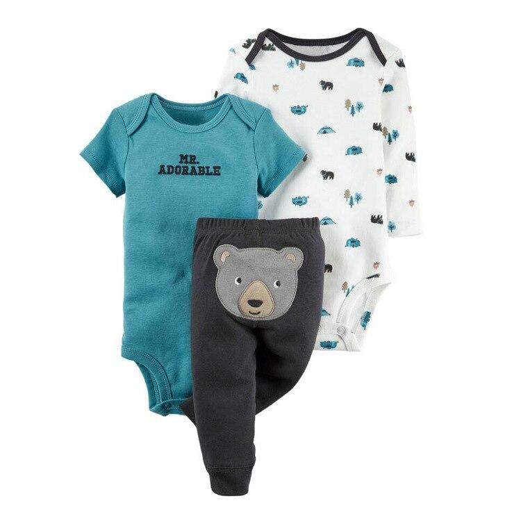 Детский бренд 3-штук для маленьких мальчиков девочек Костюмы комплекты для маленьких мальчиков Одежда для малышей комплект короткий рукав ... ...
