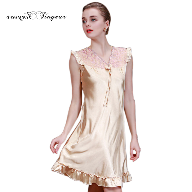 Tinyear Summer Women Nightgowns Faux Silk Home Dressing Gown For ...