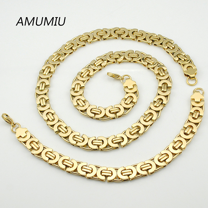 AMUMIU Herren Gold Farbe Kette Edelstahl Halskette Armband Set Flache - Modeschmuck - Foto 2