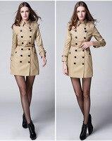 Британский стиль двубортные тренчи 2018 Весна женский кожаный ремень бурелом пальто мода тонкий офис леди пальто