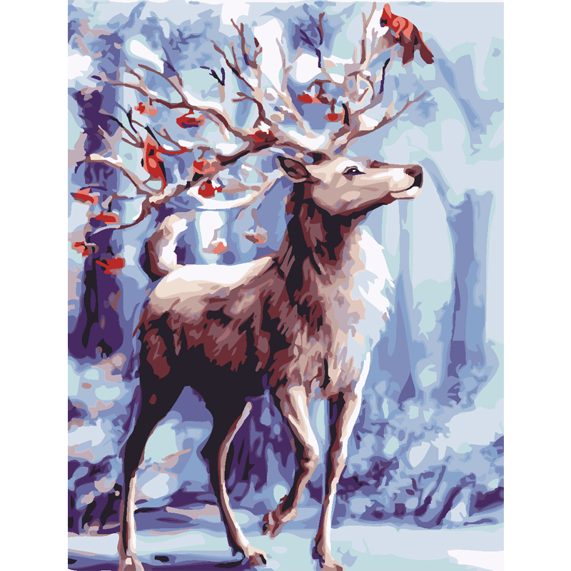 2017 new Framed painting Christmas deer pictures on canvas diy digital oil painting by numbers home decoration unique gift