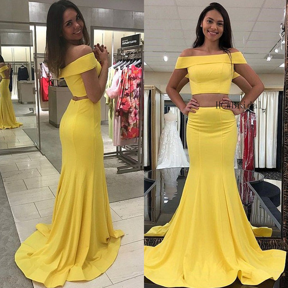 Light Yellow Elastic Satin 2 Piece   Prom     Dresses   Off The Shoulder Boat Neck Mermaid Long Formal   Dress   Cheap Evening Party Gowns