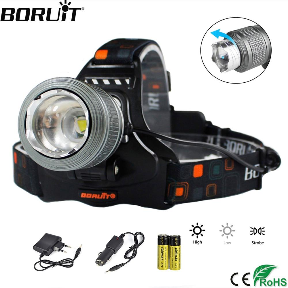 BORUiT 5000lumens T6 LED Headlamp  3-Mode Zoom Headlight IPX4 Waterproof Head Torch Camping Hunting Flashlight 18650 Battery