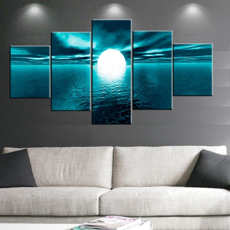 5 paneles blanco Luna Llena océano pared cuadros para la sala foto ...
