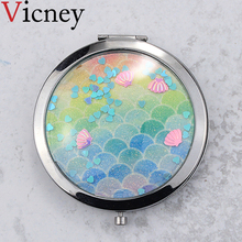 Vicney New arrival Double-sided Mirror Women Foldable Makeup Mirrors Lady Cosmetic Hand Folding Portable Compact Pocket