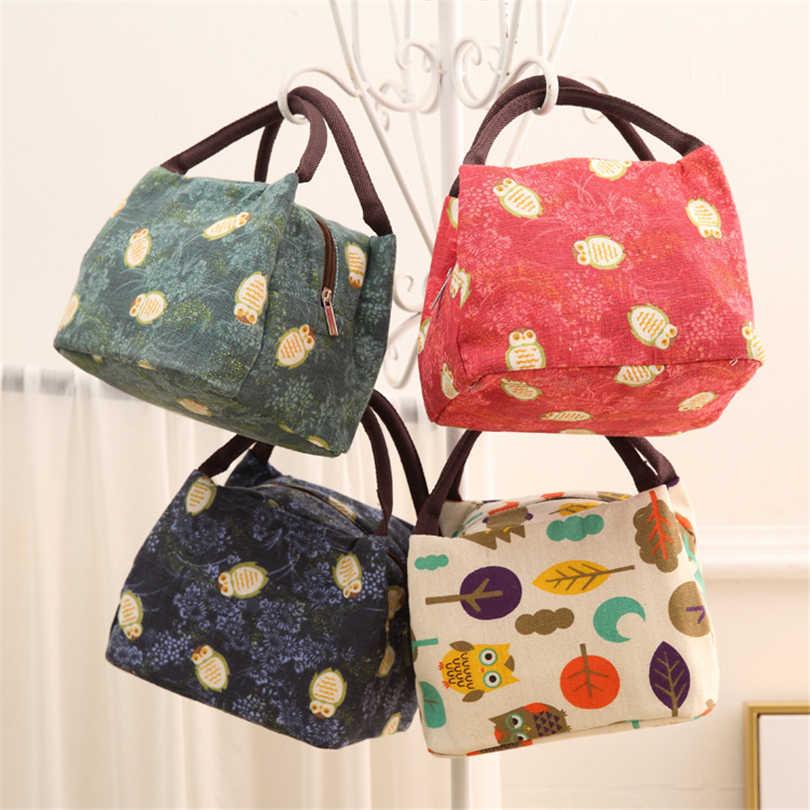 Para mujeres niños hombres aislado caja de lona bolsa de mano térmica búho enfriador bolsas de almuerzo comida mango resistente al agua llevar cajas de almuerzo