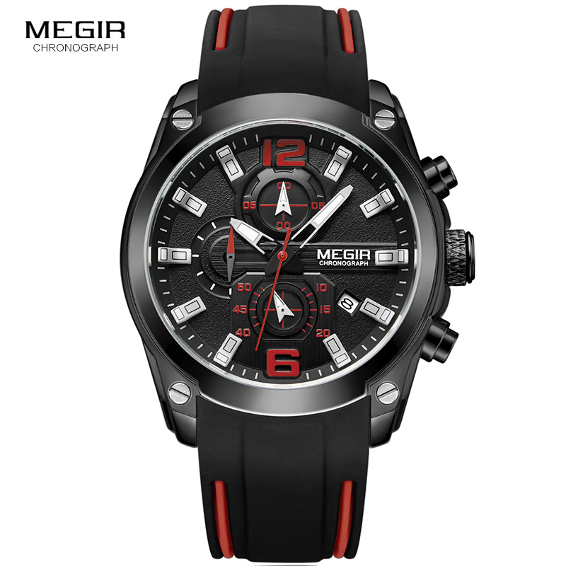 <font><b>MEGIR</b></font> Chronograph Quartz Men Watch Clock Relogio Masculino Luxury Brand Silicone Army Military Sport Watches Mens Saat <font><b>2063</b></font> image