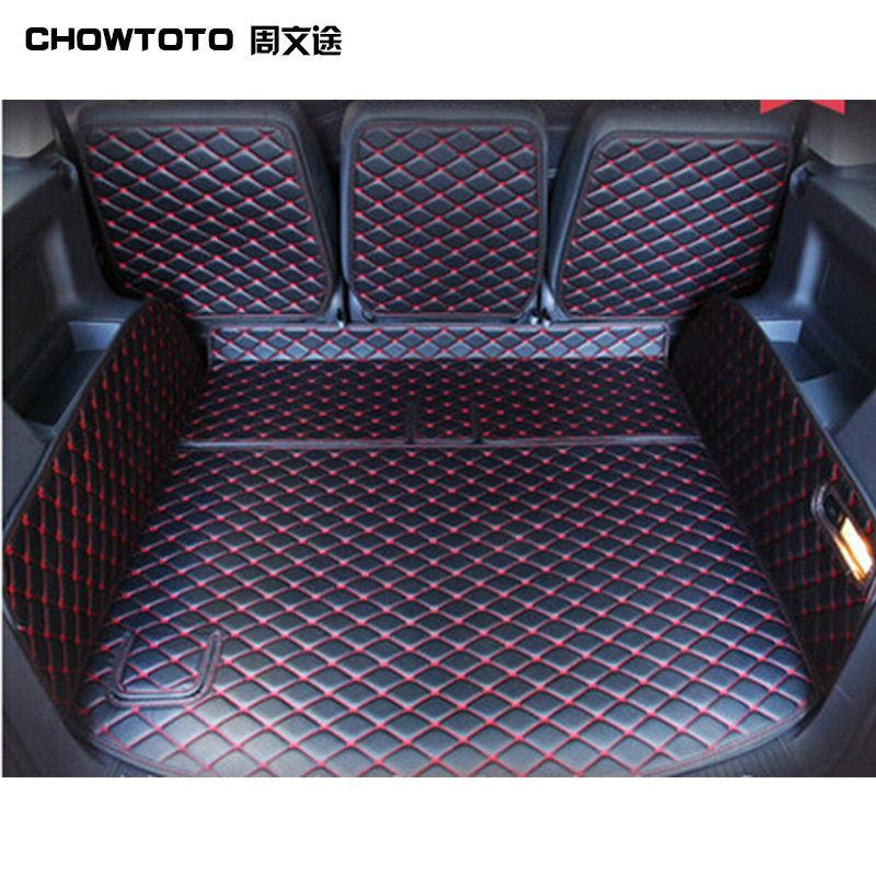CHOWTOTO Trunk Mats For Volkswagen Touran Tiguan Touareg Sharan Durable Waterproof Luggage Mats For Touran Car-styling Trunk Pad