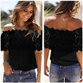 Dancing Poppy New Fashion Sexy Women Off Shoulder Casual Tops Blouse Lace Crochet Chiffon Shirt
